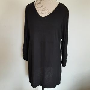 Avenue Tunic Blouse Black Ribbed Women's 18/20